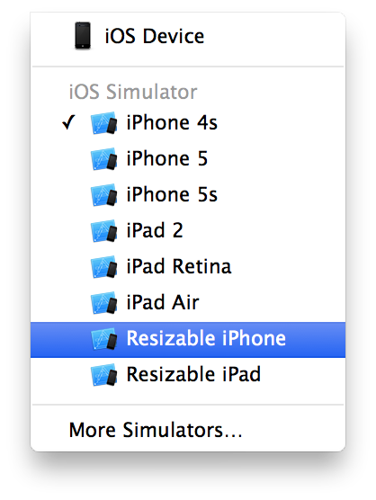 XCode6 Simulator Options